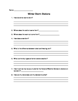 Winter Storm Station Questions
