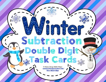 Winter Subtraction (Double Digit) Task Cards