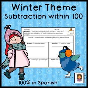 Winter Subtraction within 100 word problems (2nd grade mat