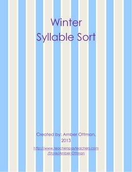 Winter Syllable Sort (1 & 2 syllables)