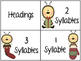 Winter Syllable Word Sort