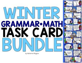 Winter Task Card BUNDLE (Math+Grammar)