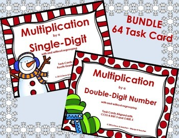 Winter Task Card Bundle - Multiplication by Single and Dou