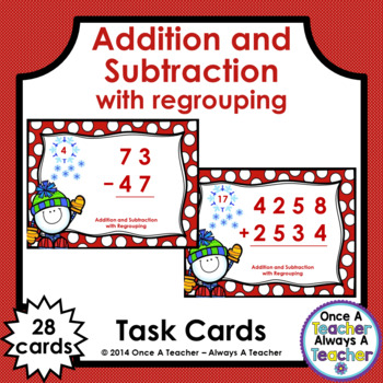 Winter Task Cards - Addition & Subtraction with Regrouping