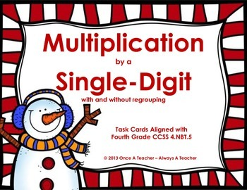 Winter Task Cards - Multiplication by a Single-Digit witho