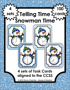 Time Task Cards -  Snowman Time