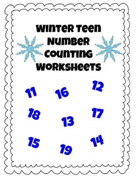 FREEBIE: Winter Teen Number Pack