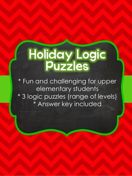 Holiday Theme Logic Puzzles (3 included)