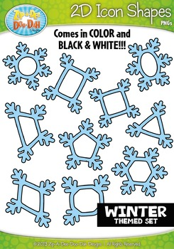 Winter Themed 2D Icon Shapes Clipart Set — Includes 20 Graphics!