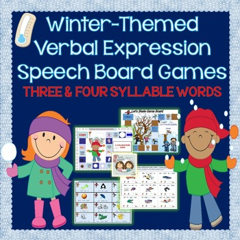 Winter-Themed 3 & 4-Syllable Word Reading or Verbal Expres
