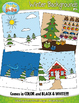Winter Themed Background Scenes Clip Art Set — Includes 30