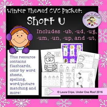 CVC Short U Winter Themed Packet - No Prep
