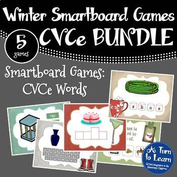 Winter Themed CVCe/Super E Words BUNDLE of 5 Smartboard/Pr