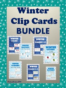 Winter Themed Clip Cards BUNDLE