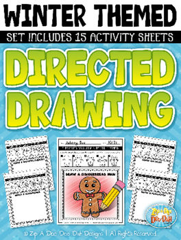 Winter Themed Directed Drawing Activity Pack — Includes 15