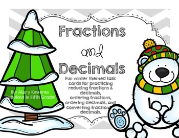 Winter Themed Fractions & Decimals Task Cards (QR Codes In