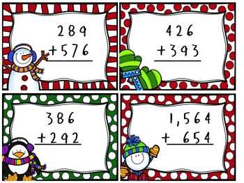 Winter Themed Math Review Cards