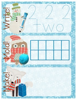 Winter-Themed Number Recognition 0-10 Math Center - Write,