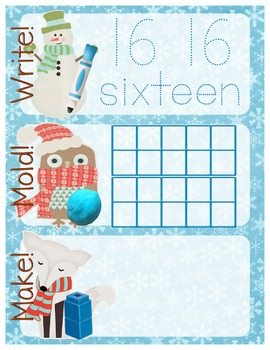 Winter-Themed Number Recognition 11-20 Math Center - Write