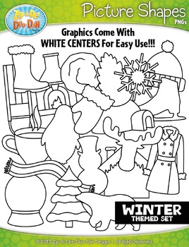 Winter Themed Picture Shapes Clipart Set — Includes 20 Graphics!