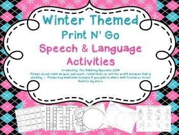 Winter Themed Print N' Go Speech & Language Activities