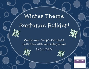 Sentence Builder Winter Theme with recording sheet