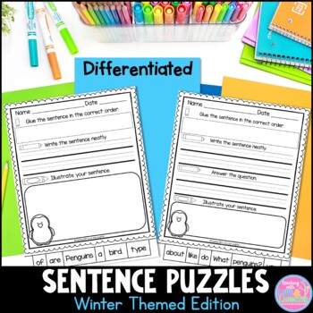 Winter Themed Sentence Puzzles