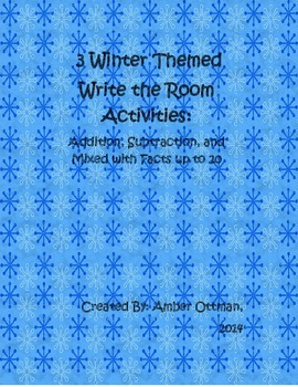 Winter Themed Write the Room Addition and Subtraction Facts to 20