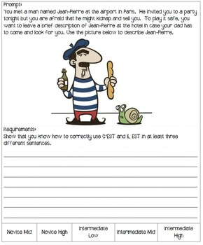 Winter Themed Writing Prompts for a French 4 (intermediate