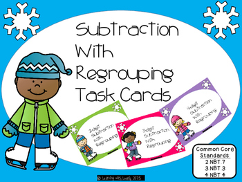Winter Themed (ice skating kids) Subtraction With Regroupi
