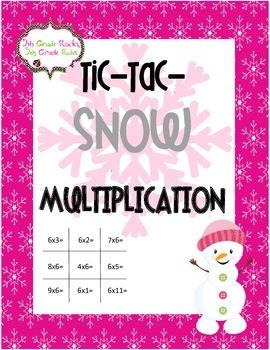 Winter Tic Tac SNOW Freebie--Multiplication