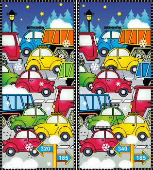Winter Traffic Find the Differences Picture Puzzle, Commer