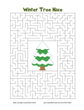 """Winter Tree"" Maze! Winter FUN! (Color and Black Line)"