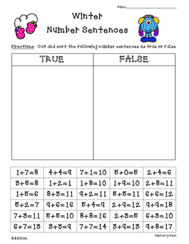 Winter True or False Addition and Subtraction Sorting Acti