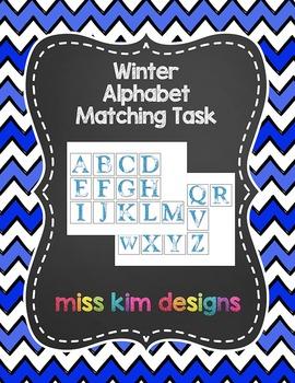 Winter Uppercase Alphabet Matching Folder Game