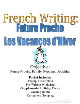 Winter Vacation Future Proche Writing Prompt for French St