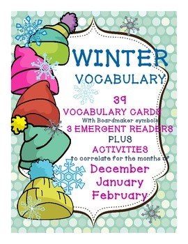 Winter Vocabulary Unit: Word Wall Cards, Emergent Readers,