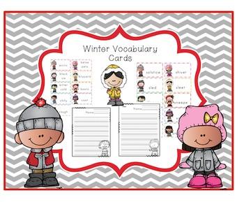 Winter Vocabulary Word Cards