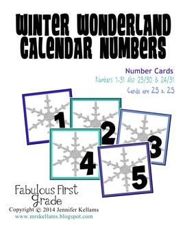 Winter Wonderland Calendar Numbers