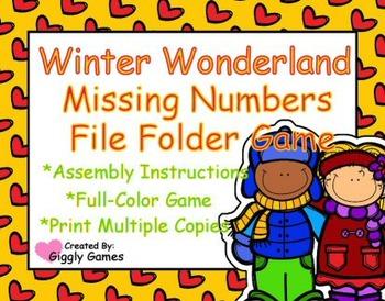 Winter Wonderland Missing Number File Folder Game