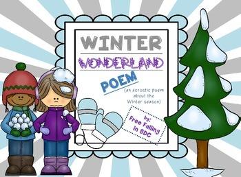 Winter Wonderland Poem (an acrostic poem for Winter)