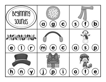 Winter Word Do-A-Dot (Beginning Sounds and Syllables)
