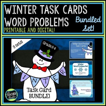 Winter Word Problem Task Card Bundle-Grades 3-4