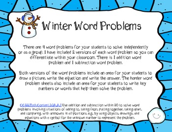 Winter Word Problems-Addition and Subtraction FREEBIE