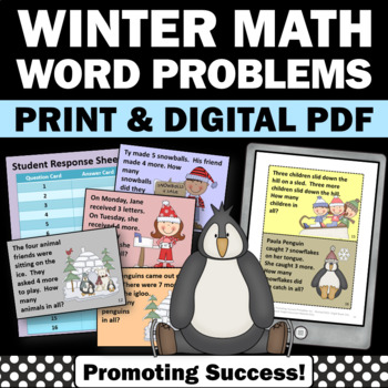 winter math word problems kindergarten 1st grade games