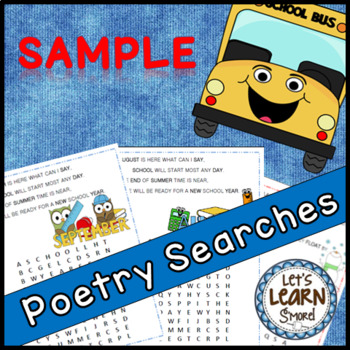 Winter Activities and Back to School Free Poetry Word Searches