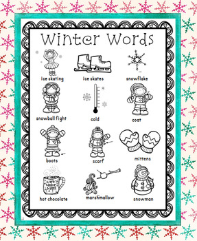 Winter Word Wall for Daily 5 Writing Portfolios / Journals