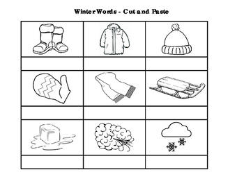 Winter Words - Cut & Paste Activity