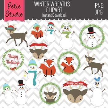 Winter Wreath Clipart // Woodland Christmas // Snowman Cli