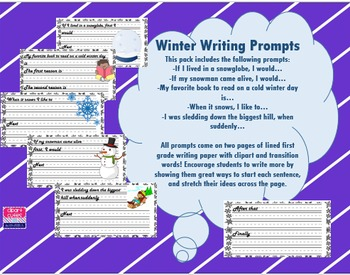 Winter Writing Prompts with Lined Paper